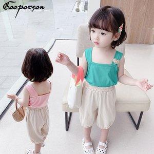 Gooporson verano ropa de las muchachas Amor Halter Topsshorts ropa hermosa Little Children lindo conjunto Equipos para niños coreanos