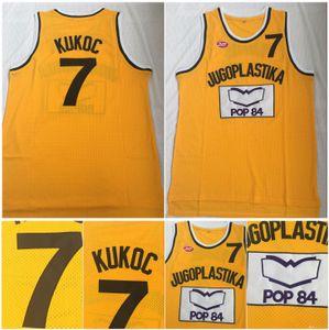 Calidad superior! Toni Kukoc Jersey 7 Jugoplastika Split Moive College Baloncesto Jerseys Amarillo 100% Cosido Talla S-2XL