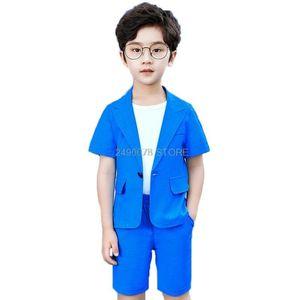 Boys Summer Blazer +Shorts 2Pcs Clothing Set School Kids Formal Wedding Birthday Dress Children Prom Dance Performance Costume