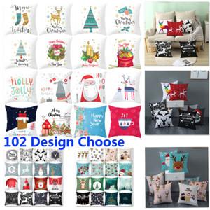 Innenweihnachtsdekoration Kissenbezüge für Weihnachtsbaum Weihnachtsmann Frohe Weihnachten Printed Dekokissen Fall Cove Home Decor HH9-2506