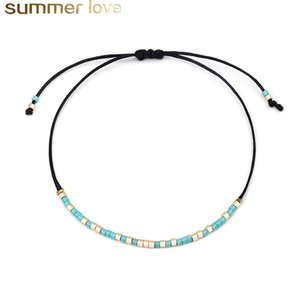 Bohemian Handwoven Colorful Weave Beaded Bracelet Retro Rice Crystal Seed Beads Adjustable Rope Ethnic Braided Bracelet Summer Jewelry