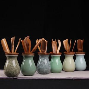 6pcs set Chinese Classical Tea Accessories Delicate Celadon Teapot Can Store Tea Scoop Tea Needle Kungfu Bamboo Teaset Preferred