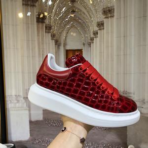 Smart Platform para hombre Negro Rojo manera de las mujeres zapatos planos ocasionales mujer caminando zapatillas de deporte casuales zapatos de los zapatos del patrón de piedra