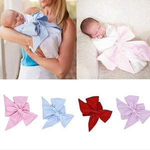 Newborn Swaddle Sash INS Baby Big Bow Sashes Infant Swaddle Blanket Plaid Sash Boys Girls Photography Accessories Boutique Outfits CYP629