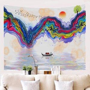 Paysage coloré Peinture Tapisserie Polyester Style de mur Nail sans décoration Salon Chambre Style Chinois Tissu Papier peint