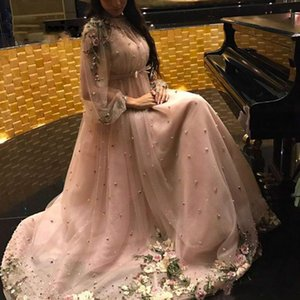 Elegant Flower Long Sleeve Evening Dresses Ball Pearls Said Mhamad Formal Pageant Party Dress Plus Size Prom Juniors Gowns Vestido de noche