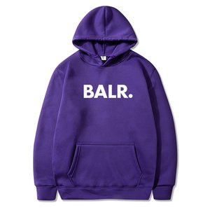Hoodies degli uomini di modo di marca BALR del 2020 di autunno della molla maschio casuale solido Tops colori Felpe Felpa con cappuccio Felpa