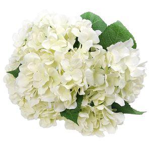 Flores artificiales de seda 7 Big Head Hydrangea Ramo de boda, habitación, hogar, hotel, decoración del partido y Recuerdos Blanca