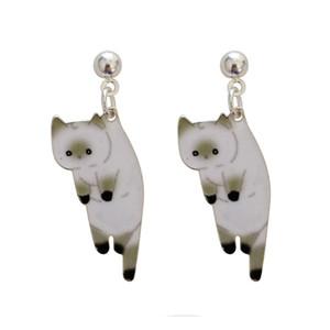 동물 귀걸이 사랑스러운 기발한 애니메이션 만화 여성 스터드 귀걸이 인쇄 귀여운 고양이 소녀 쥬얼리 귀걸이