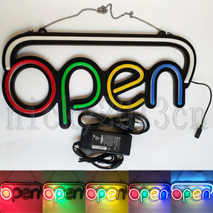 Super Bright Open Sign LED Neon Light Strip Auto clignotant Multi Color Hanging Bussiness vitrine avant affichage 12V