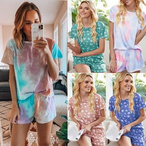 Fashion Women Stay-home Outfits Printing Short Sleeves T Shirt Two Pieces Tie-dye Casual Tracksuits Comfortable Shorts Sets Summer
