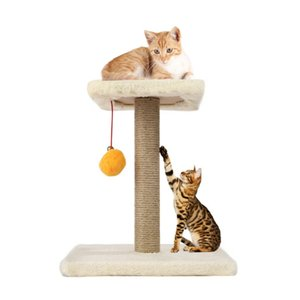 M30-1 Pet Cat Tree Climbing Frame Toy with Ball Shape Bell Toy Cat Scratching Posts Scratch Board Jumping Training