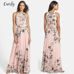 2020 New Kimono Sleeve Women Summer Casual Floral Chiffon Sleeveless Evening Party Club Wear Long Dress