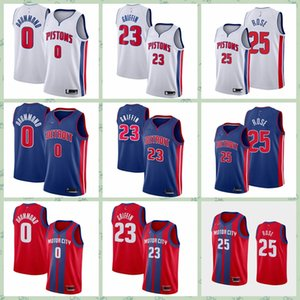 Mens 23 Griffin 25 Rose 0 Drummond City 2020 Edition Red Basketball Jersey Griffin Derrick Stitched Shirts