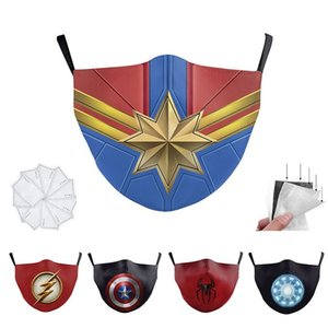 Kids Captain Batman Spiderman super hero designer luxury Kid face mask Party Cosplay Shield Reusable Dust Windproof Children Cotton Masks