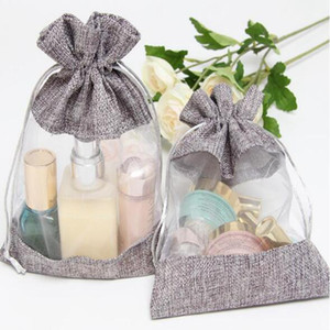 10x14cm Clear Window Jute Gift Bag Burlap Party Favor Sack Bag Linen Drawstring Pouch Organza Jewelry Gift Candy Bag