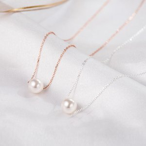 Genuine 925 Sterling Silver Dainty Single Pearl Choker Necklaces Simple Hypoallergenic Jewelry for Women Girls