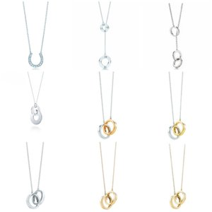 TIFF Original 925 Sterling Silver Moda Horseshoe Anel de bloqueio estilo elegante tendência DIY jóias pingente de colar de presente