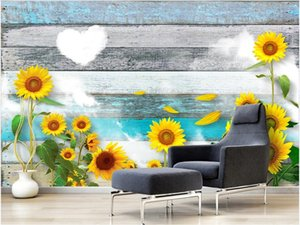3d interior custom mural The background wall of modern mural TV in sunflower stickers home decor wall art picture