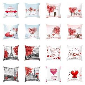 Happy Valentine Taie Peach peau Valentine Day Taie d'oreiller en forme de coeur amant Canapé Coussin Case