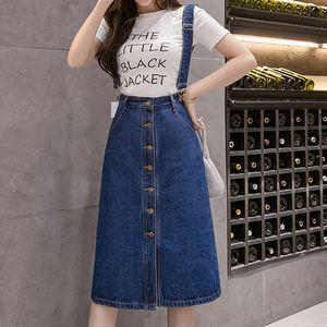 Womens Denim Skirt High Waist Plus Size S-5XL Ladies Straps Button Jean Long Skirt Fashion Casual Slim Sexy Office