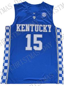 Cousins atacado Demarcus baratos DAVIS Jersey Kentucky Wildcats Azul Branco Sewn Basketball Jersey Personalizar qualquer número nome HOMENS MULHERES JOVENS