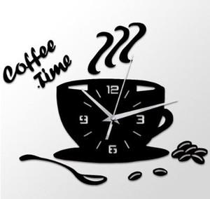 3D DIY Acrílico Reloj de Pared Cocina Moderna Decoración Del Hogar Café Time Clock Cup Shape Etiqueta de La Pared Hueco Numeral Reloj