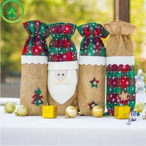 Wine Xmas Natal Fada Bottle Capa Bag saco bonito de Santa Set Tabela Jantar Decor Gift Bags