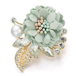 Belle spille fiore foglie di strass di cristallo perla simulata per abiti risvolto sciarpa spilla in tessuto per le donne da sposa Z076