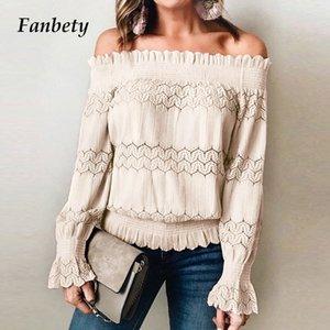 Fanbety Automne Hiver DECL épaule dentelle chemisier chemise à manches longues femme élégante Blusa Hauts Ladie creux sexy en patchwork Chemisier