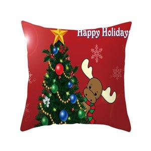 Merry Christmas Pillow Cover Super Soft Square Throw Pillowcase Pillow Cover 45x45cm Home Decorative Decor Cushion Xmas