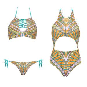 Sexy Women Swimsuits 2017 Verão Imprimir Swimwear Bikini Set Bandage Push-Up acolchoado camisola Praia Swimsuit