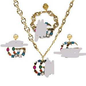 Orecchini del braccialetto della collana di lusso per le donne monili di nozze insieme nuziale monili del progettista degli orecchini della collana accessorio del braccialetto 3PCS / Set