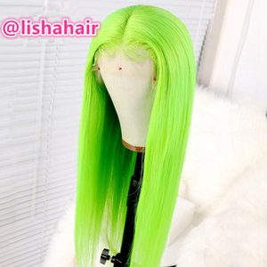 Lemon green Brazilian Human Hair Lace Front Human Hair Wigs Pre Plucked With Baby Hair green color