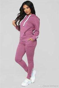 Le donne del progettista Pure Color tute sportive Primavera Autunno con cappuccio signore 2PC insieme casuale allentato a maniche lunghe femminile Abbigliamento