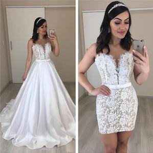 2019 Arabic Medio Oriente Due pezzi Abiti da sposa con gonna rimovibile fuori dalla spalla corta abiti da sposa personalizzati abiti da sposa lunghi