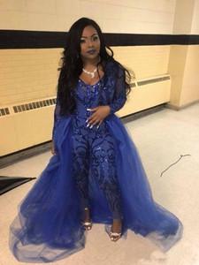 Royal Blue Jumpsuits Ballkleider mit Überrock V-Ausschnitt Lange Ärmel Pailletten Abendkleider Plus Size African Pageant Pants Party Wear