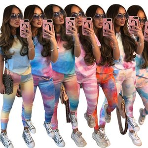 Women Tracksuit short sleeve 2 Piece Set sportswear Jogging Sports leggings hot sale klw4184