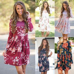 Women summer dresses Floral Print Short Sleeve Boho Dress women clothes Evening Gown Party Long Maxi Dress Summer Sundress