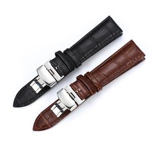 Watch Band Strap modello di farfalla vera pelle fibbia deployante Bracciale Brown Black cinturini 15-23mm