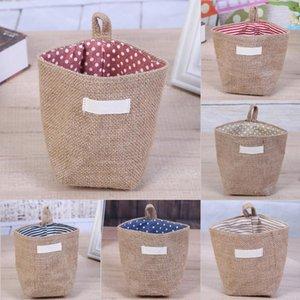 Retro Basket Storage Box Yute con forro de algodón Misceláneas Basket Mini Desktop Storage Bag Bolsas colgantes 14 x 14 x 12.5 cm