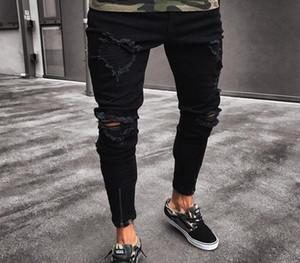 Pantalones de roca negros con cremallera ajustada con cremallera Pantalones lavados Jeans Hip Hop Pies casuales Pantalones para hombres