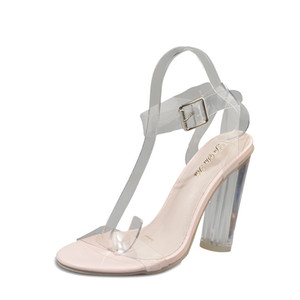 2019 Summer New High-heeled Buckle Women's Sandals European and American Fashion Crystal Women's Shoes Transparent Women's Sandals
