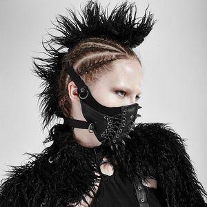 Kadınlar Punk Parti Lace Up Kişilik Maske Cadılar Bayramı Partisi Maskeler Maske Motobike Kaya Perçin Deri Maske
