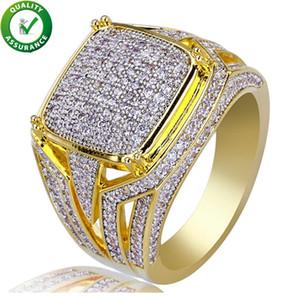 Joyería de Hip Hop Anillo de diamante Para hombre Diseñador de lujo Anillos Micro Pave CZ Iced Out Bling Big Square Anillo de dedo Chapado en oro Accesorios de boda