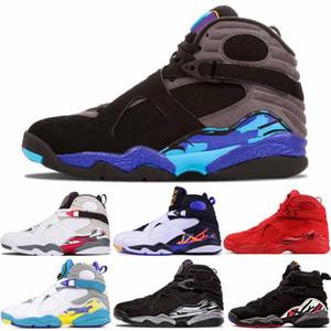 Sıcak Satış Aqua Basketbol ayakkabıları Erkekler Spor Outdoor Eğitmeni Ayakkabı paketi geri sayım 8 8s Playoff Aqua Siyah Üç Turba Sevgililer Günü Krom mens
