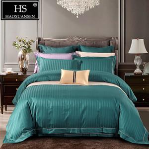 Verde rayas Jacquard lecho 4pcs Establece Queen King Size 100% de algodón de 650 hilos, tela cubierta del Duvet de la hoja de cama