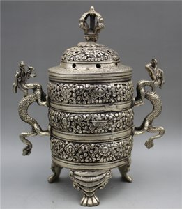 Sammlung Chinese Tibetan Silber Censer handgeschnitzten Dragon Incense Brenner