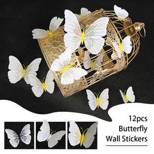 Adesivi murali 12Pcs farfalla 3D decalcomania della decorazione di arte del magnete del frigorifero della casa della decorazione di alta qualità