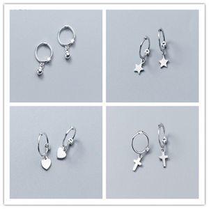 Kadınlar Yıldız Çapraz Kalp Yuvarlak Dangle Küpe Samll Çember Hoop Küpeli için 925 Gümüş Asma Küpe
